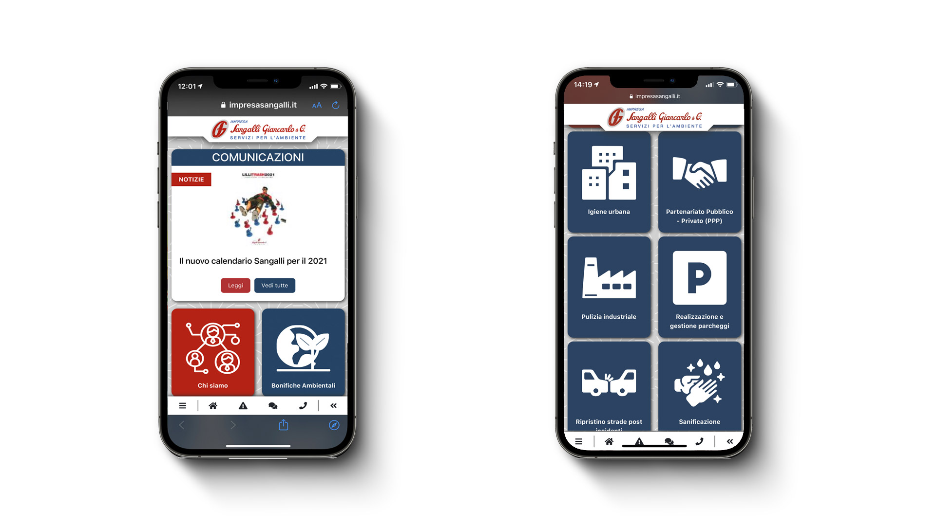 Impresa Sangalli Web App - realizzata da eWeb Bergamo
