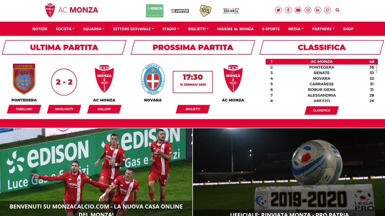 sito web Associazione Calcio Monza S.p.A. - tailor made by eWeb srl