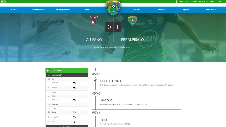 Feralpi Salò - La Partita in Diretta -  Siti Internet & Web Marketing   eWeb SRL Bergamo